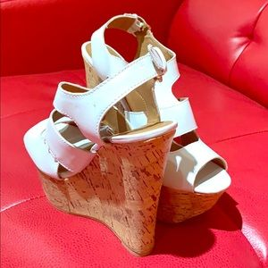 White Collide Wedge Shoes